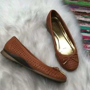LRL Nia Perforated Leather Ballet Flats 8.5 Tan